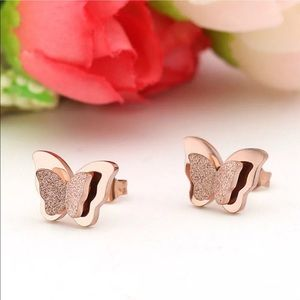 Frosted Titanium Butterfly Earrings